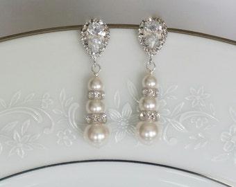 Crystal Bridal Earrings, Bridal Earrings, Pearl Earrings, Bridal Jewelry, Wedding Jewelry, Pearl Bridesmaid Earrings