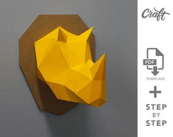 Craft Rhino •  DIY Papercraft Rhino • Make Your Own Trophy • PDF Papercraft • Wall Paper Sculpture •  Template PDF • Handmade