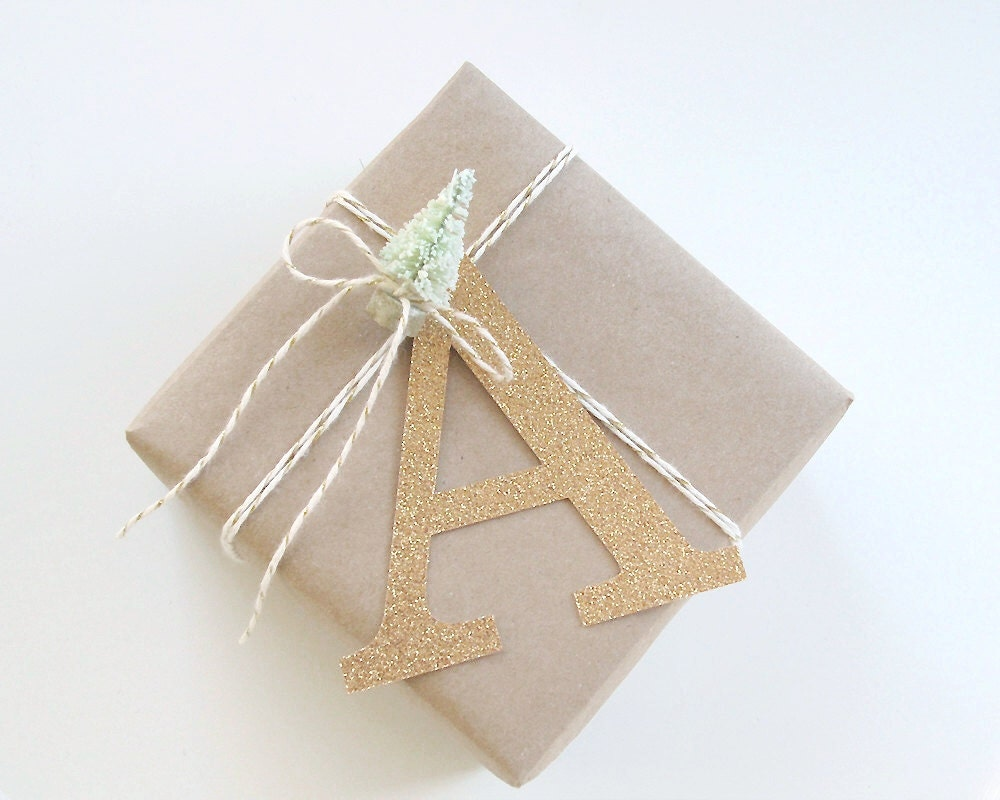 Gold Glitter Initial Gift Tag - Custom Initial Tags - Christmas Gift ...