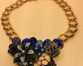 Blue Vintage Assemblage Necklace. Repurposed Necklace. Statement Necklace