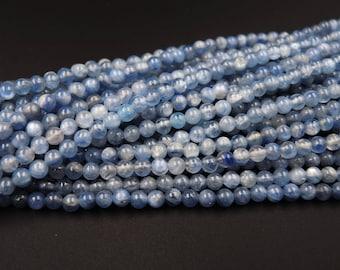 "Natural Blue Kyanite 4mm Polished Finish Round Beads 16"" Strand"