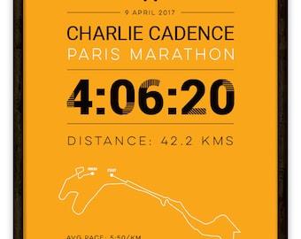 Paris Personalised Marathon Poster / Memento / Gift / Art Print / Route / Map