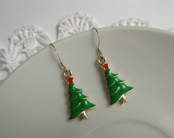 Christmas Tree Earrings Xmas Jewelry Holiday Green Charm Jewellery Gift for Her