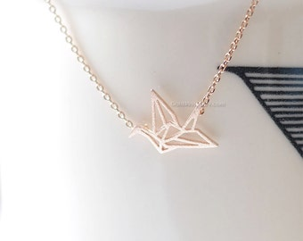 Rose Gold origami Crane Necklace, Crane necklace , necklace for women, fashion jewelry, Gift for her / girlfriend gift / bridesmaids gift