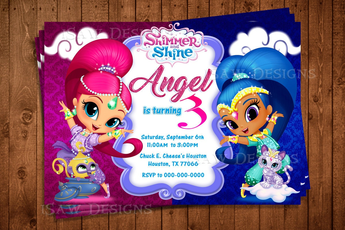 Shimmer and shine digital personalized invitations shimmer zoom monicamarmolfo Image collections