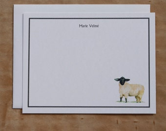 Sheep Lamb Black and White Custom Notecard. Thank You, Any Occasion, Personalize Watercolor Print, Set of 10.