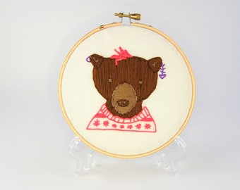 Hipster Bear Hoop Art - Hand Embroidered Bear Wall Hanging - Beer with earrings, pink hair and a ironic sweater - Bartholomew Fisher
