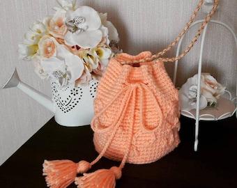 Knitted bag pink/backpack/knitted bag/crochet bag/knit bag/handmade bag/bag/hand knitted bag/handmade/knitted handbag/hand knit bag