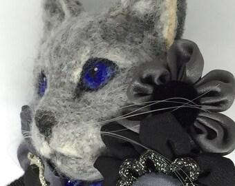 Needle Felted Cat Needle Felt cat Brooch Kimono Vintage Japan