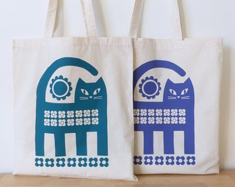 Cat Tote Bag Retro Mid Century Inspired Hand Screen Printed / Gift For Her / Cat Lover Gift / Valentine's Gift / Cat Gift Bag / Cat Gifts