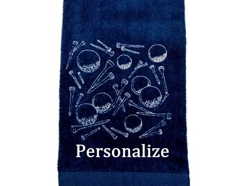 Golf ball towel, custom golf gift, embroidered towel, sports towel, personalized birthday, golf balls, gift for golfer, custom sport towel