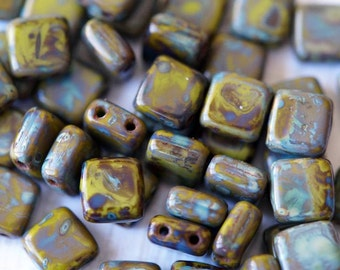 6mm CzechMates Tile Beads - Opaque Olive - Picasso Czech Glass Beads - Two Hole Tile Beads - Bead Soup Beads