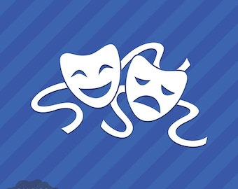 Comedy Tragedy Drama Theater Masks Vinyl Decal Sticker