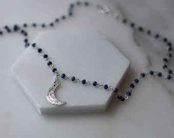 """Silver Moon Necklace - """"Croissant de Lune"""" Pendant on Lapis Lazuli Rosary Chain - Celestial Jewerly - Sterling Gemstone Necklace"""