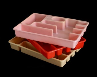 Plastic Flatware Trays Rubbermaid Pink, Beige, Red Orange Silverware Organizer 1960s 1970s 1980s Kitchen #2921 2922
