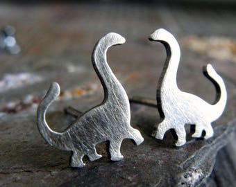 Dinosaur tiny stud earrings handmade brontosaurus jewelry. Sterling silver, 14k gold-filled or solid 14k gold. Cute reptile litte girl posts