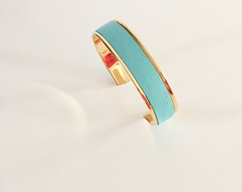 CUFF leather turquoise S