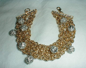 nolan miller bracelet mesh bracelet crystal balls bracelet crystal dangles bracelet gold bracelet sparkling dangles bracelet vintage bracele