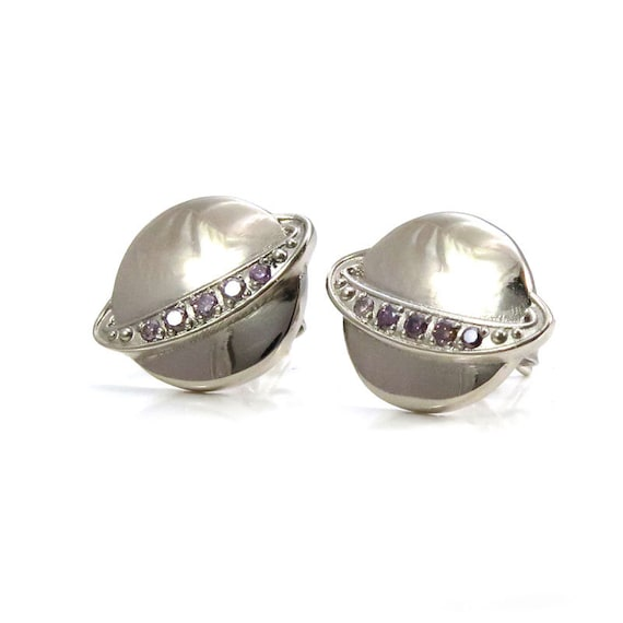 White Gold Saturn Post Earrings with Lavender Diamond Rings - Purple Diamond Solar System Studs- Ready to Ship