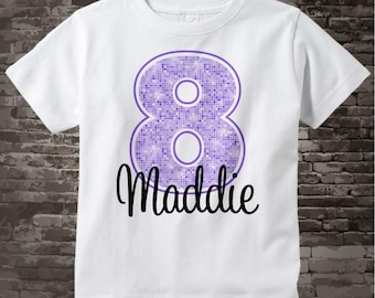 Eighth Birthday Shirt, Light Purple 8 Birthday Shirt, Any Age Personalized Girls Birthday Shirt Light Purple Age and Name 11212012a
