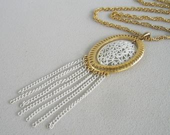 Vintage White Enamel Filigree Necklace Long Summer