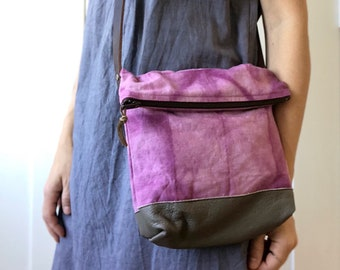 zip crossbody - natural cochineal shibori
