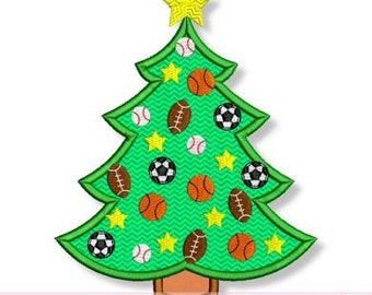 All Star SPORTS Christmas TREE  4x4 5x7 6x10 7x11 Machine Embroidery Design  INSTANT Download