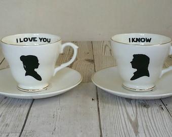 Star Wars - Princess Leia - Han Solo - vintage teacup and saucer - I love you I know - I love you - Darth Vader