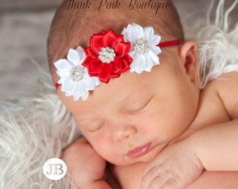 Christmas baby Headband, baby headbands, newborn headband, baby girl headband, Baby Hair Bows, Infant headband, red flower baby headband,