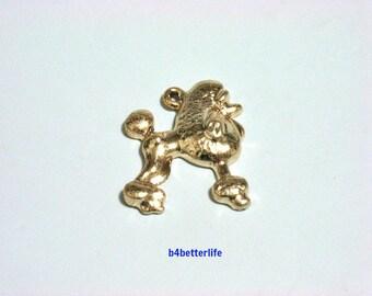 """Lot of 24pcs """"Poodle"""" Gold Color Tone Metal Charms. #XX102."""