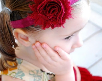 Maroon Shabby Flower Headband - Dark Red Photo Prop - Newborn Baby Little Girls Hair Bow - Autumn Fall Thanksgiving Accessory - Christmas