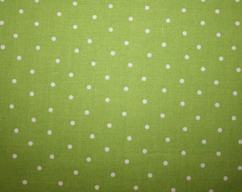 SALE  Green Small White Polka Dots Modern  Cotton fabric by the yard.