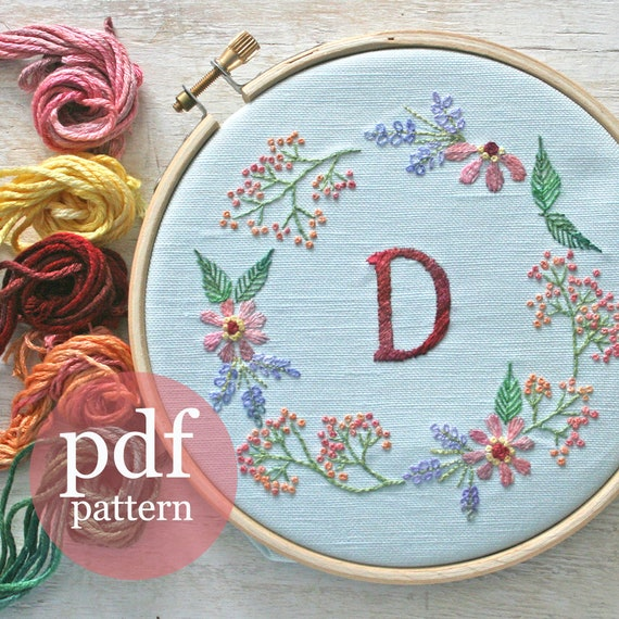 Crewel Embroidery Kit Embroidery Pattern Kit Monogram Flower Wreath