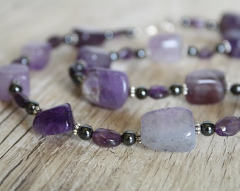 Chunky Amethyst and Hematite Necklace and Earring Set / Jewelry Set / Gifts for Her / Gifts for Women / Amethyst Jewelry / Purple Necklace