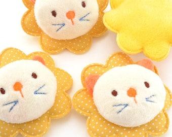 Applique plush toy lion yellow thimble size 6.5x7cm