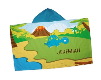 """Personalized Hooded Towel for Kids - Dinosaur Volcano Island Trees , 24"""" x 42"""" Hooded Beach Towel"""
