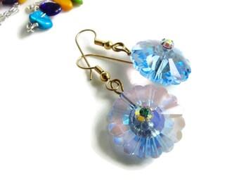Blue Swarovski Crystal Earrings-Gift for Mom-Birthday Gift For Her-Gift Under 45-Crystal Jewelry-Elegant Custom Jewelry-Flower Earrings