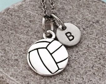 Volleyball necklace, volleyball charm, sports necklace, personalized necklace, initial necklace, monogram