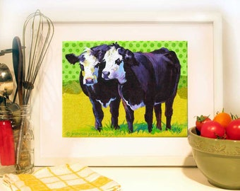 Cow Painting, Cow Print, Cows 2 of a Kind Cows, Cow Print Yellow & Green, Summer Fun,  Art Print 5 x 7 by Jemmas Gems