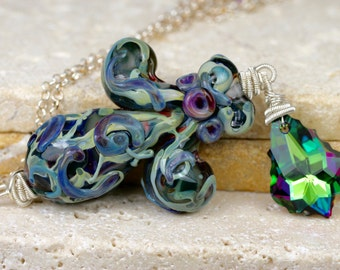 Fleur De Lis Necklace, Wire Wrapped Necklace, Swarovski Crystal Necklace, Lampwork Necklace, Glass Necklace, Artisan Necklace