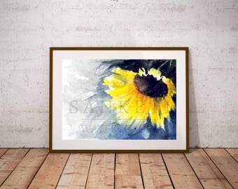 Sunflower watercolor painting, Valentines day,Sunflower Print, Art print, Floral Watercolor art, Sunflower wall art, Fall Sunflowers