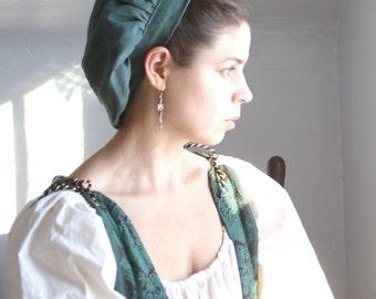renaissance muffin cap hat medieval caul green linen renaissance faire -ready to ship-