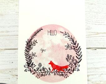 Fox Print Postcard, Hello Cute Fox Stationary Postcard