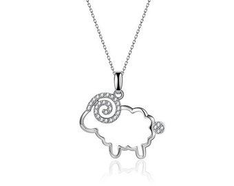Sterling Silver Sheep Pendant Necklace