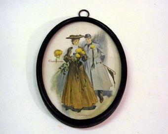 Vintage 1 Cent Postcard Wall Hanging Turn of Century Victorian Couple Chrysanthemum