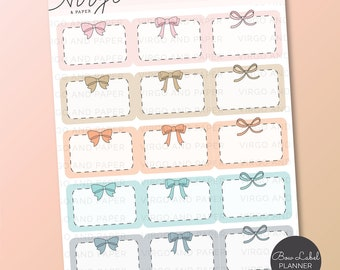 Colorful Bow Label Planner Stickers - Hand Drawn Bow Event Label Planner Stickers, Half Box Planner Stickers by Virgo and Paper RBB1