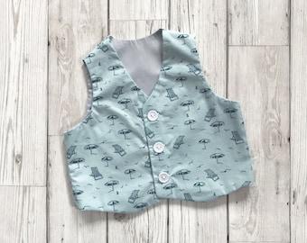 Green Boys Waistcoat - Boys Christening Suit - Boys Summer Clothes - Boys Waistcoat - Newborn Baby Gift - Baby Gift Ideas