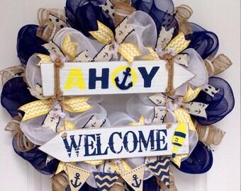 Ahoy Welcome Nautical Wreath Handmade Deco Mesh