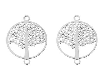 10 connectors in the shape of tree of life filigree stainless steel 19mm
