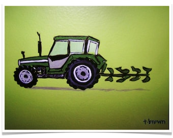 tractor. farm equipment. kids rooms. art print. john deere. plow. deere john fine art art print of original painting. traciebrownart.